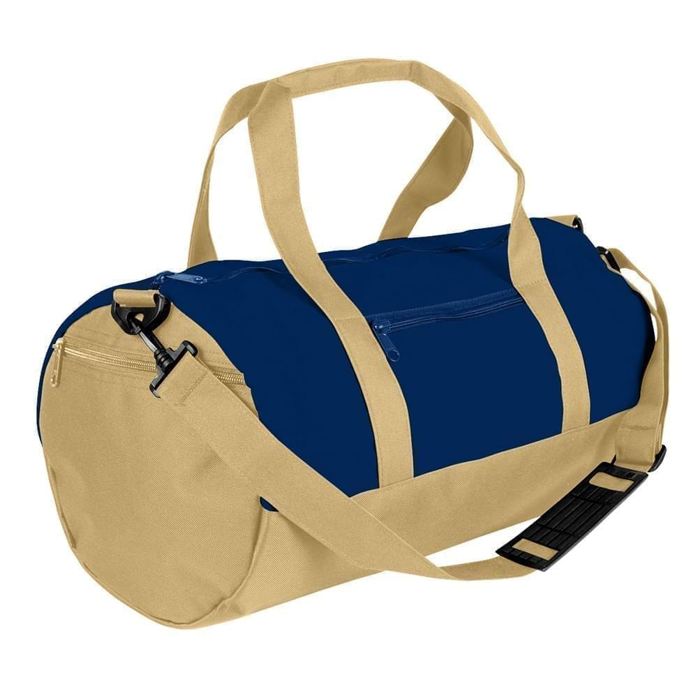 USA Made Heavy Canvas Athletic Barrel Bags, Navy-Khaki, PMLXZ2AAMX