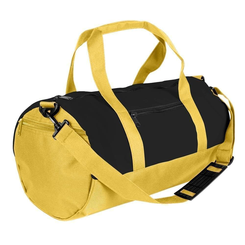 USA Made Heavy Canvas Athletic Barrel Bags, Black-Gold, PMLXZ2AAN5
