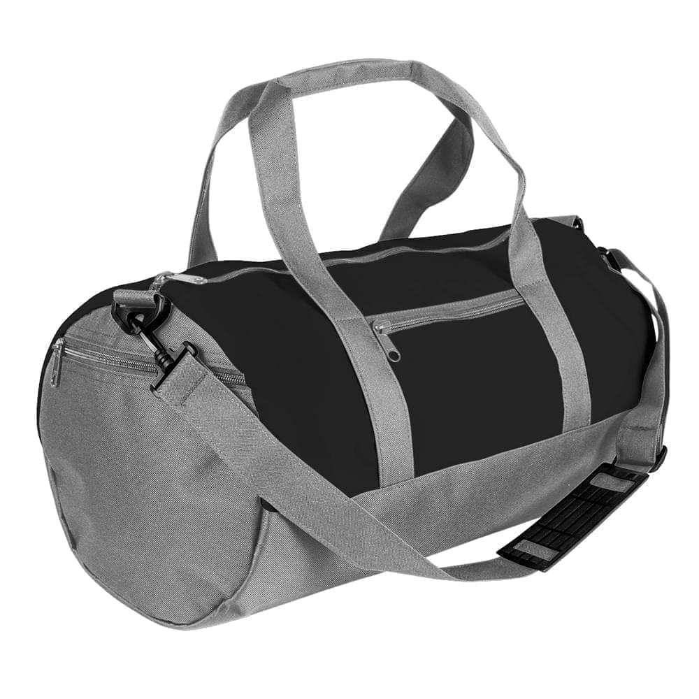 USA Made Heavy Canvas Athletic Barrel Bags, Black-Grey, PMLXZ2AANU