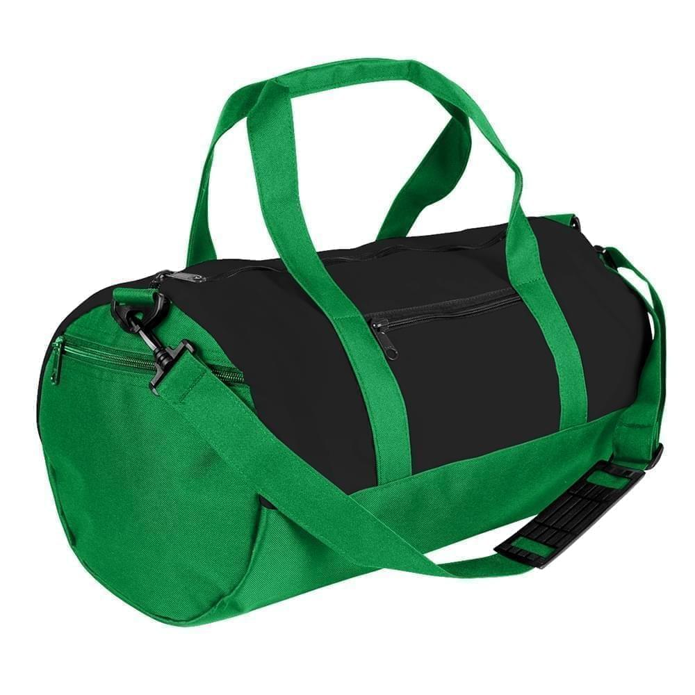 USA Made Heavy Canvas Athletic Barrel Bags, Black-Kelly Green, PMLXZ2AANW