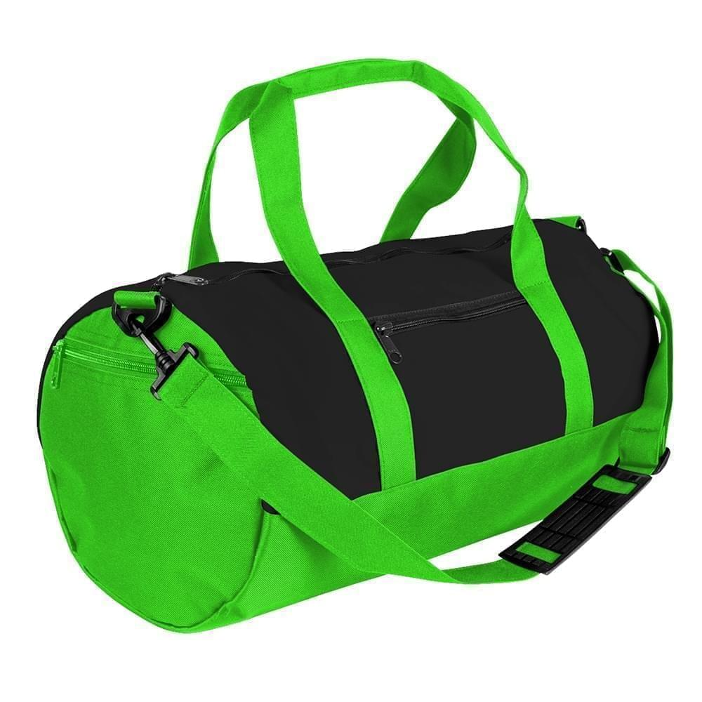 USA Made Heavy Canvas Athletic Barrel Bags, Black-Lime, PMLXZ2AANY
