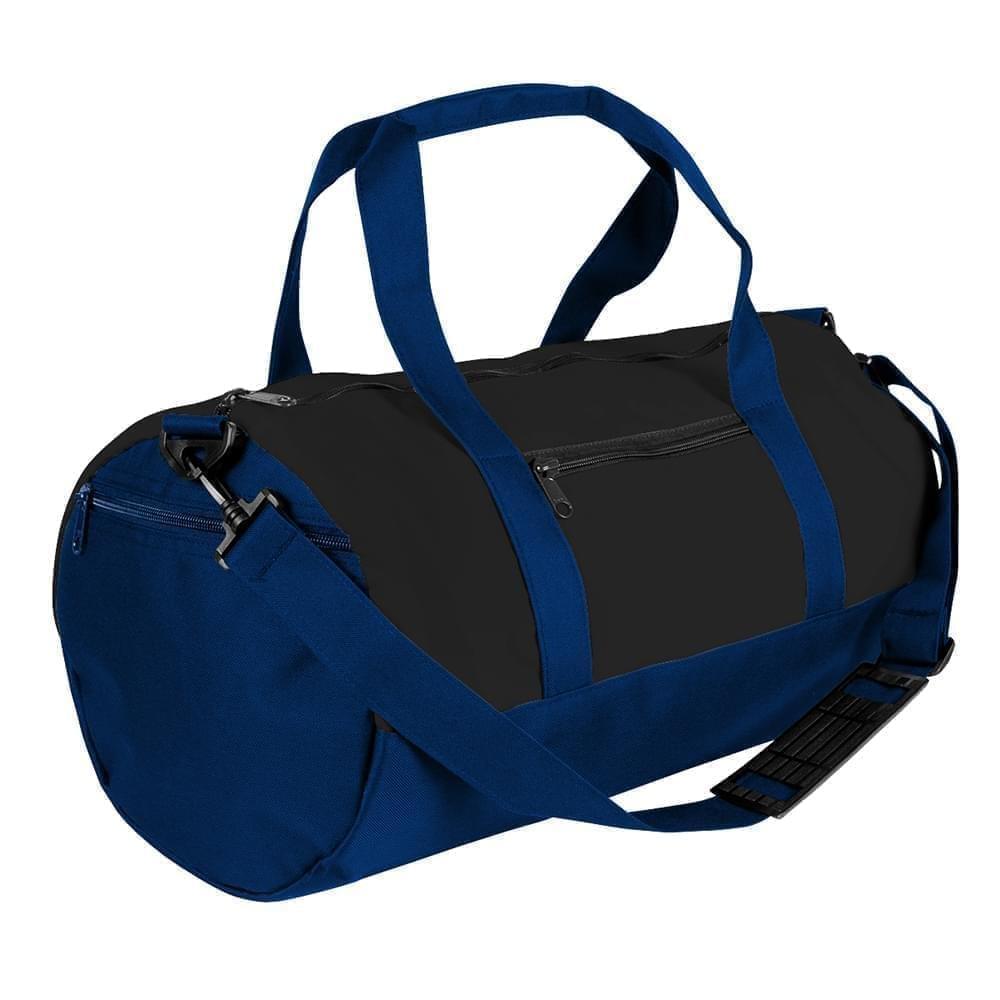USA Made Heavy Canvas Athletic Barrel Bags, Black-Navy, PMLXZ2AANZ