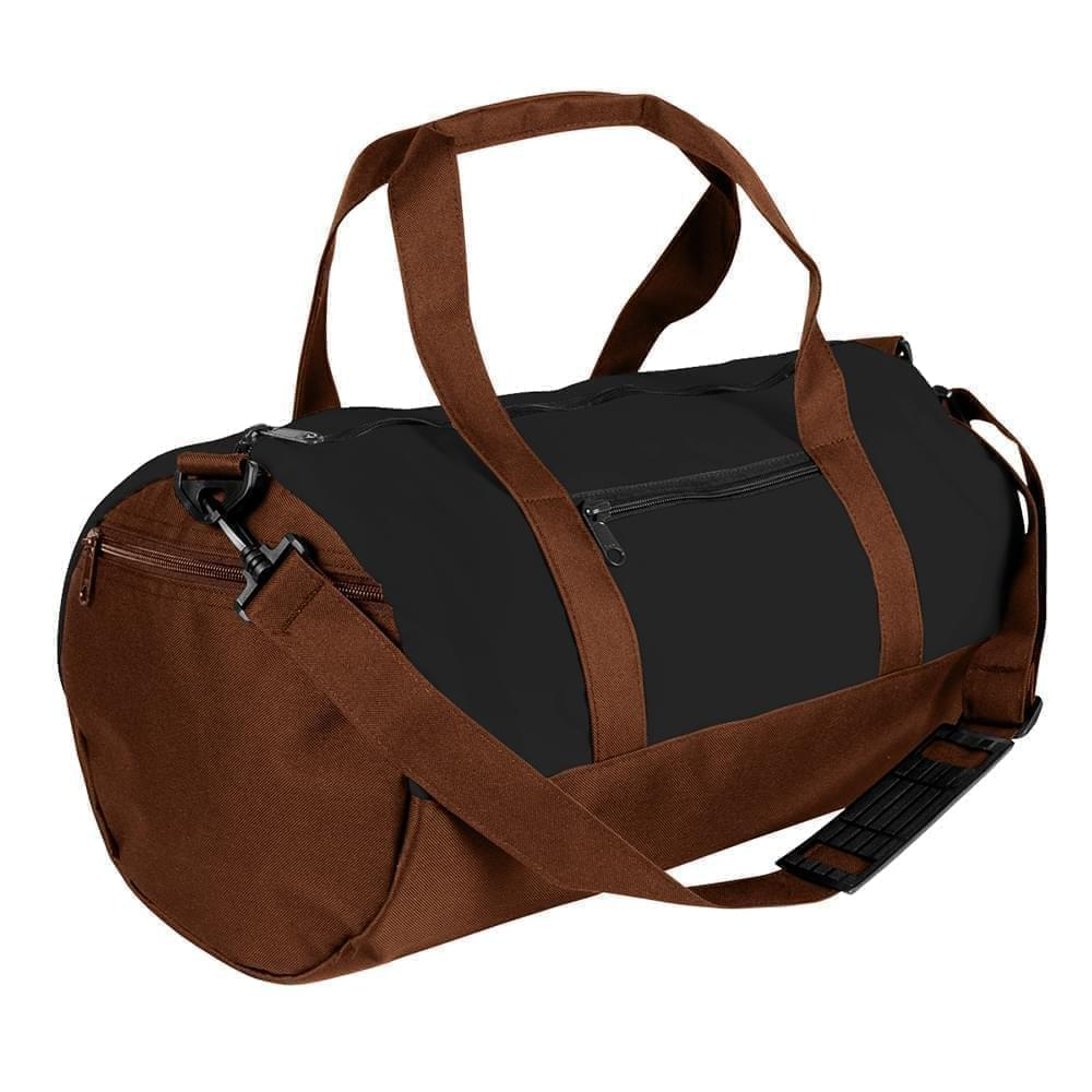 USA Made Nylon Poly Athletic Barrel Bags, Black-Brown, PMLXZ2AAOD