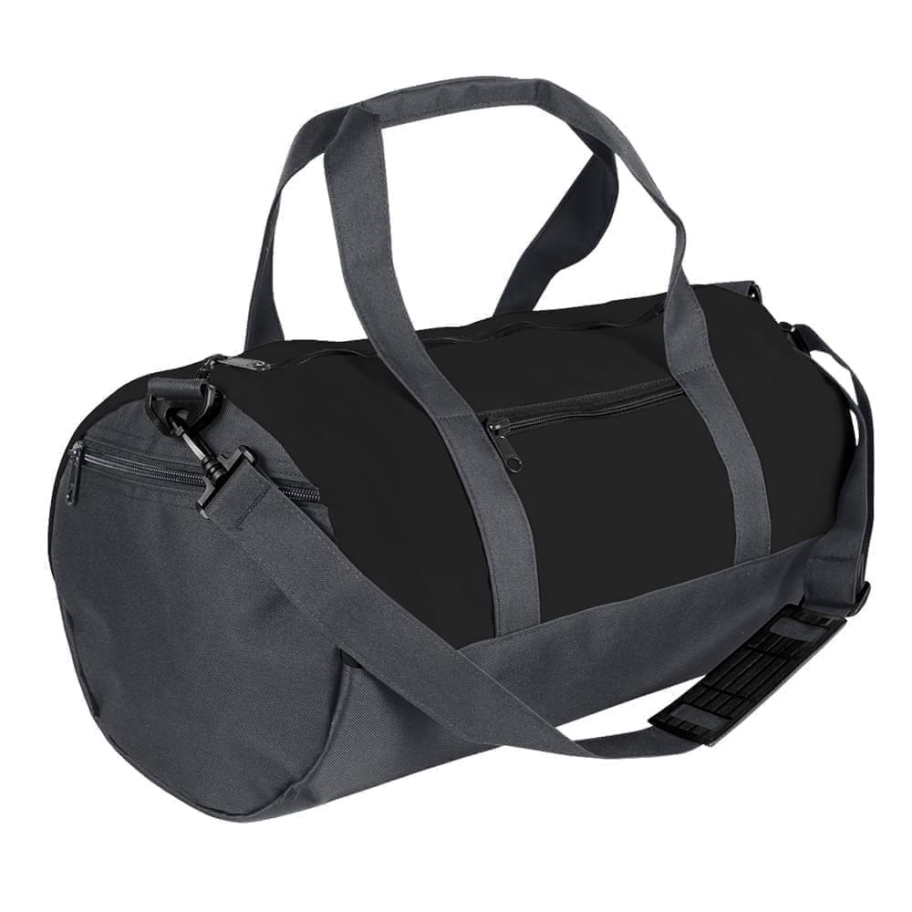 USA Made Nylon Poly Athletic Barrel Bags, Black-Graphite, PMLXZ2AAOF