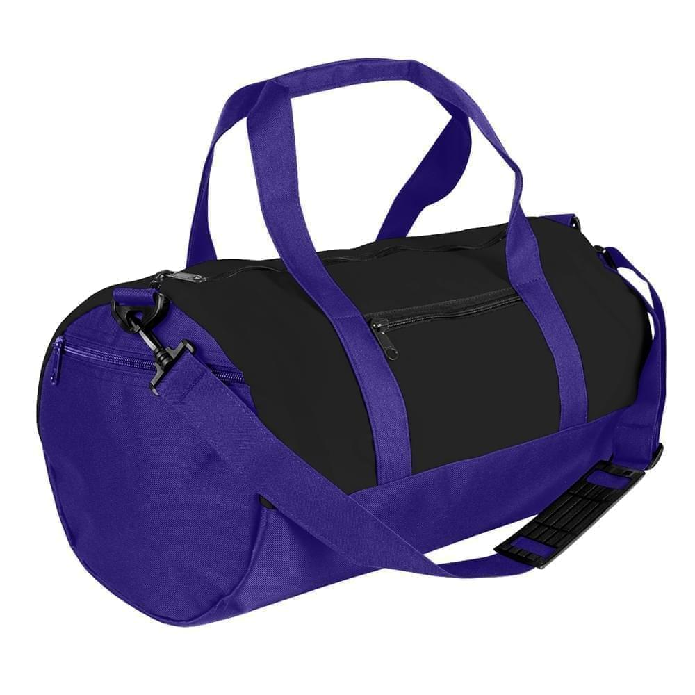 USA Made Nylon Poly Athletic Barrel Bags, Black-Purple, PMLXZ2AAOK