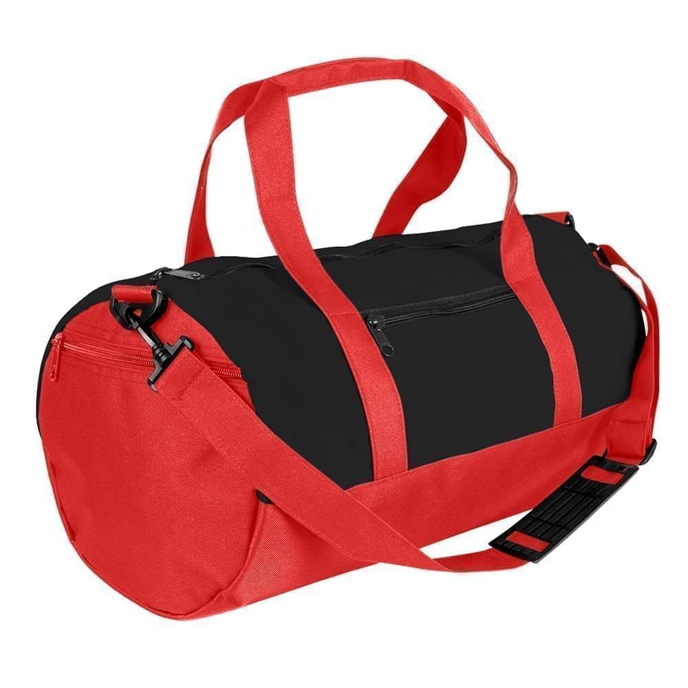 USA Made Nylon Poly Athletic Barrel Bags, Black-Red, PMLXZ2AAOL