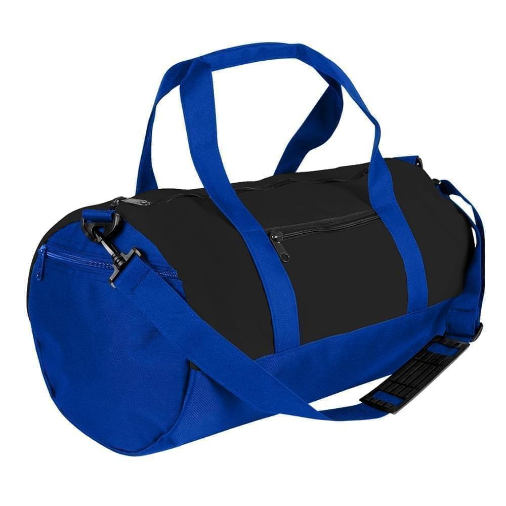 USA Made Nylon Poly Athletic Barrel Bags, Black-Royal Blue, PMLXZ2AAOM