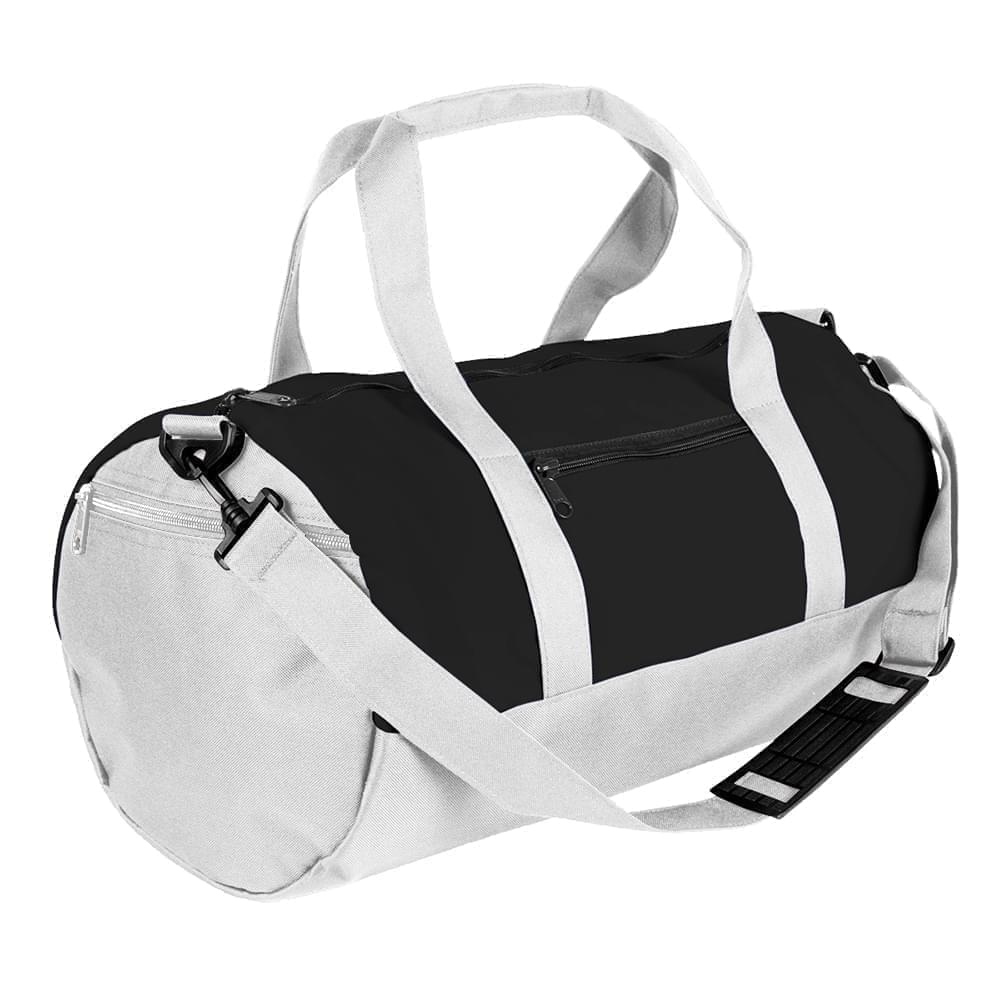 USA Made Nylon Poly Athletic Barrel Bags, Black-White, PMLXZ2AAOP