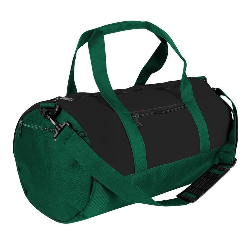 USA Made Nylon Poly Athletic Barrel Bags, Black-Hunter Green, PMLXZ2AAOV