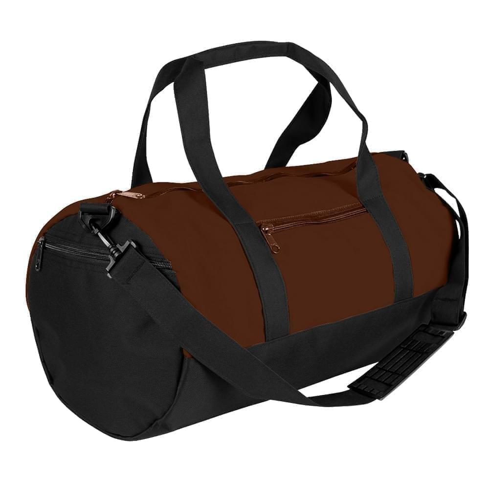 USA Made Nylon Poly Athletic Barrel Bags, Brown-Black, PMLXZ2AAPC