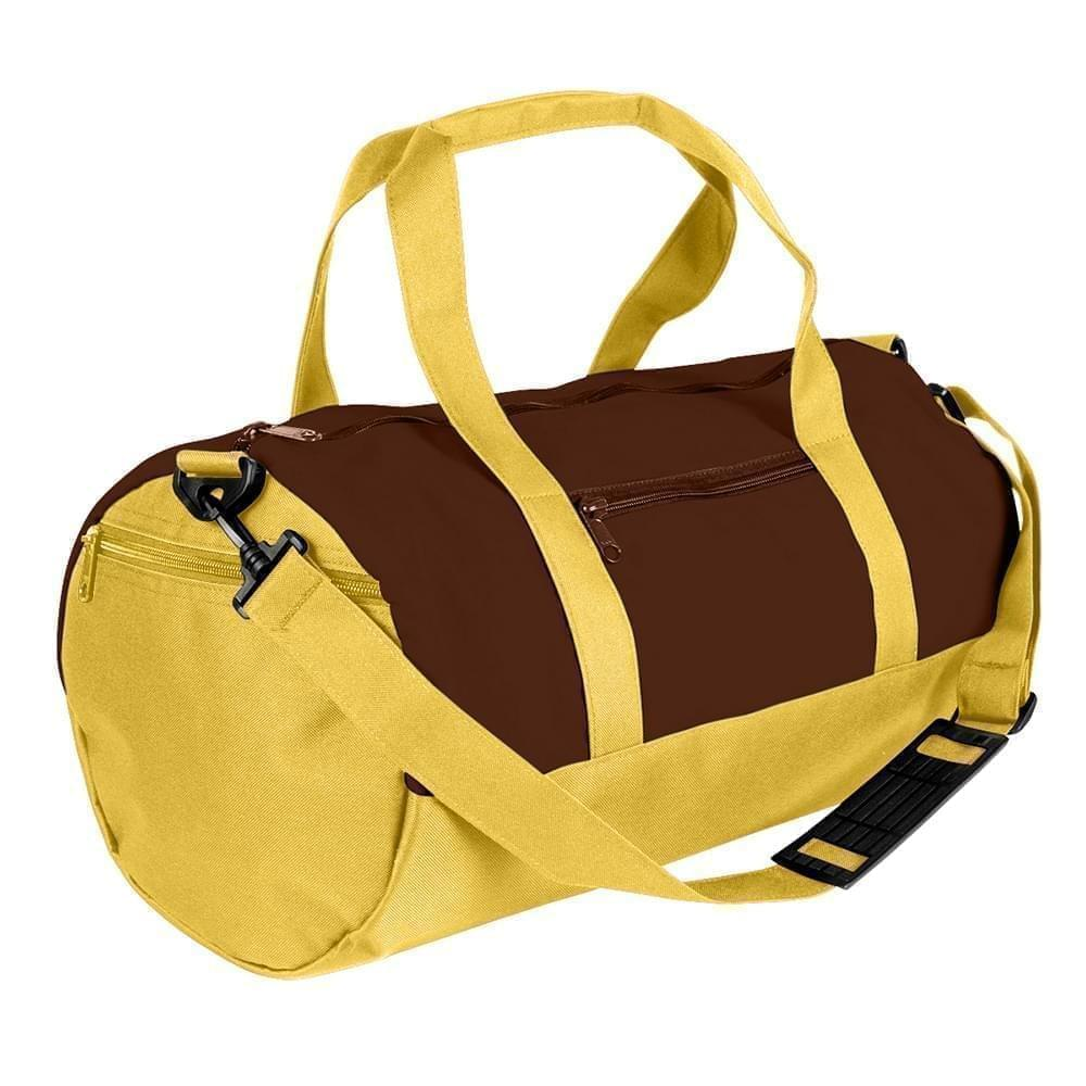 USA Made Nylon Poly Athletic Barrel Bags, Brown-Gold, PMLXZ2AAPQ