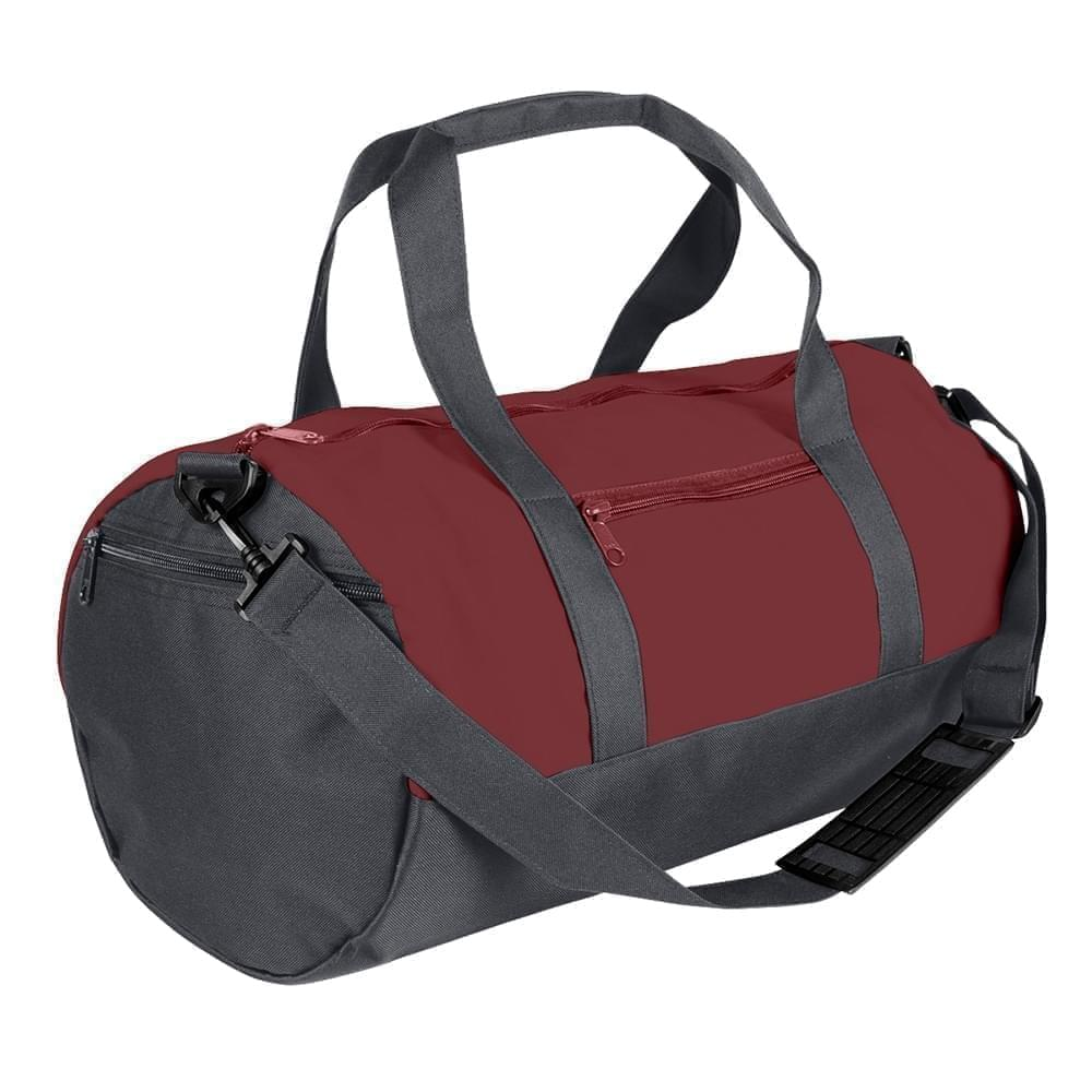 USA Made Nylon Poly Athletic Barrel Bags, Burgundy-Graphite, PMLXZ2AAQF