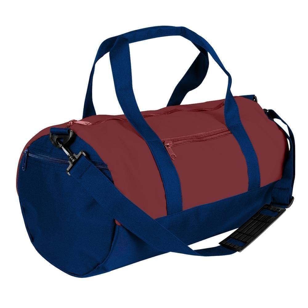 USA Made Nylon Poly Athletic Barrel Bags, Burgundy-Navy, PMLXZ2AAQI