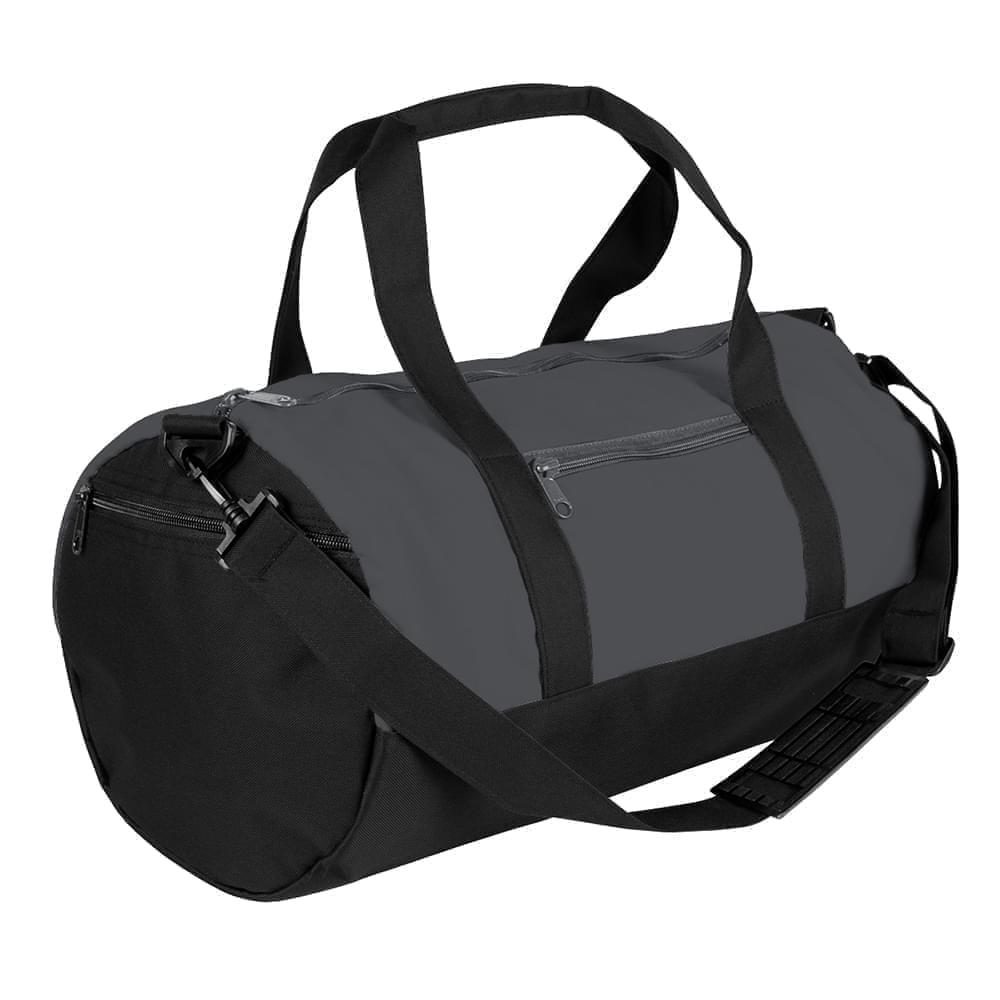 USA Made Nylon Poly Athletic Barrel Bags, Graphite-Black, PMLXZ2AARC