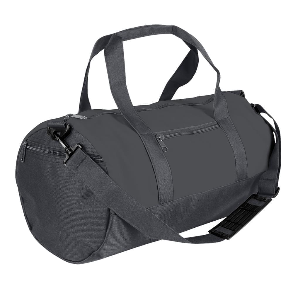 USA Made Nylon Poly Athletic Barrel Bags, Graphite-Graphite, PMLXZ2AARF