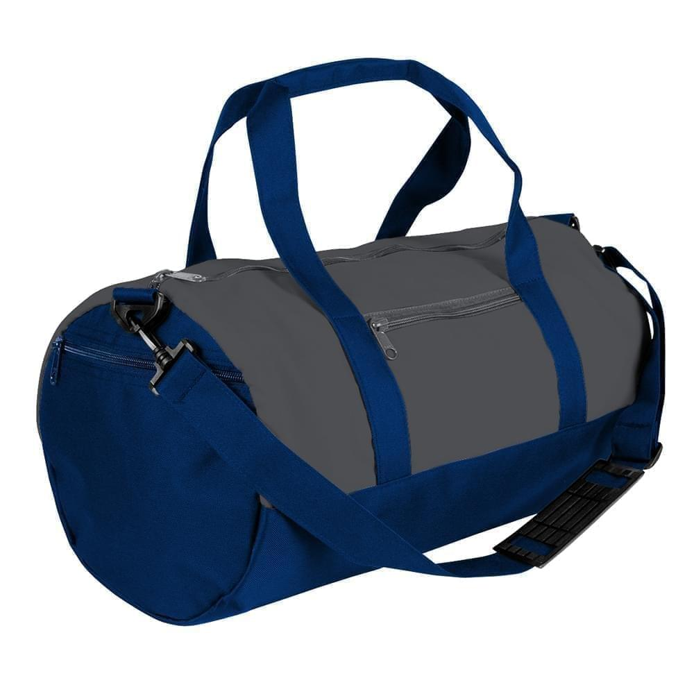 USA Made Nylon Poly Athletic Barrel Bags, Graphite-Navy, PMLXZ2AARI