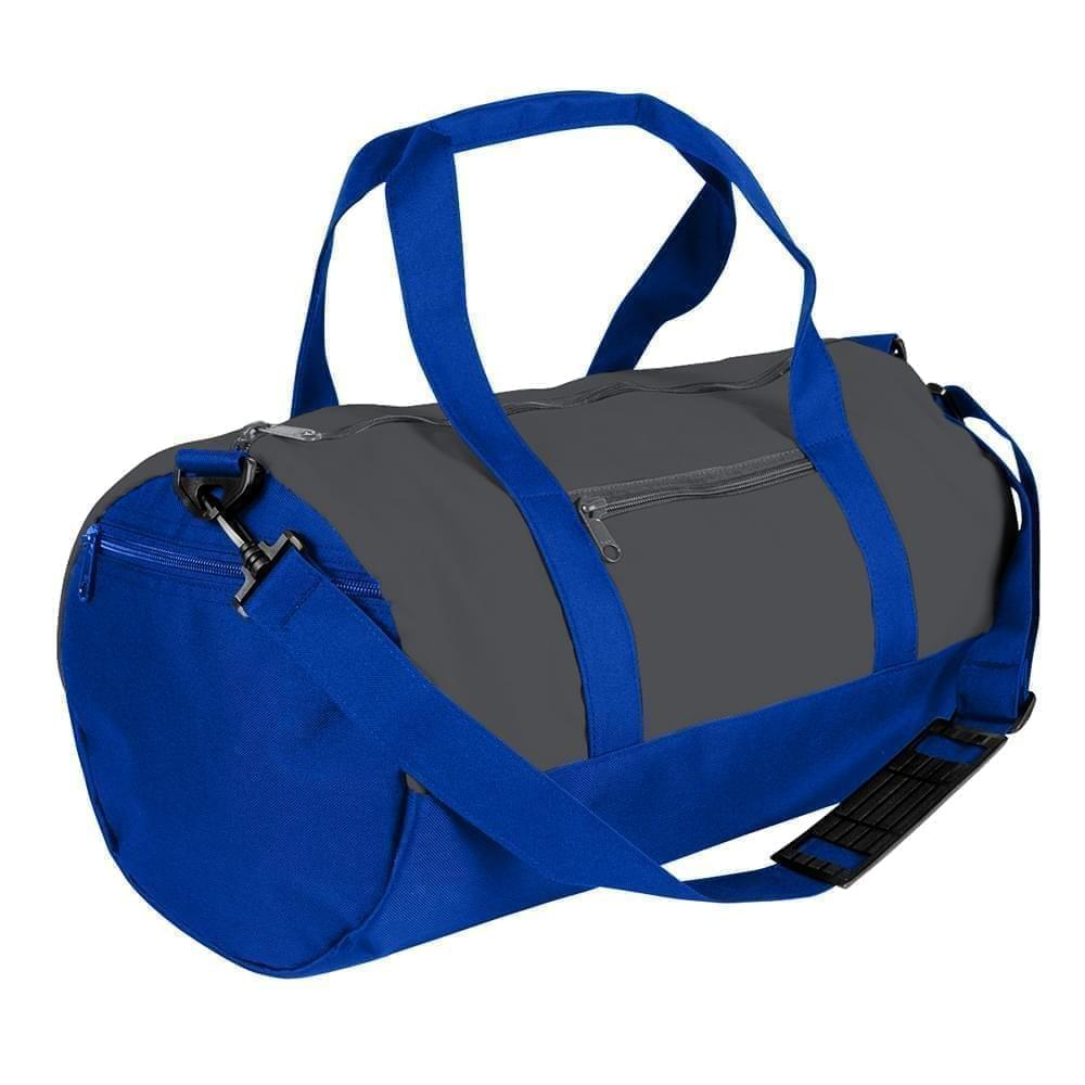 USA Made Nylon Poly Athletic Barrel Bags, Graphite-Royal Blue, PMLXZ2AARM