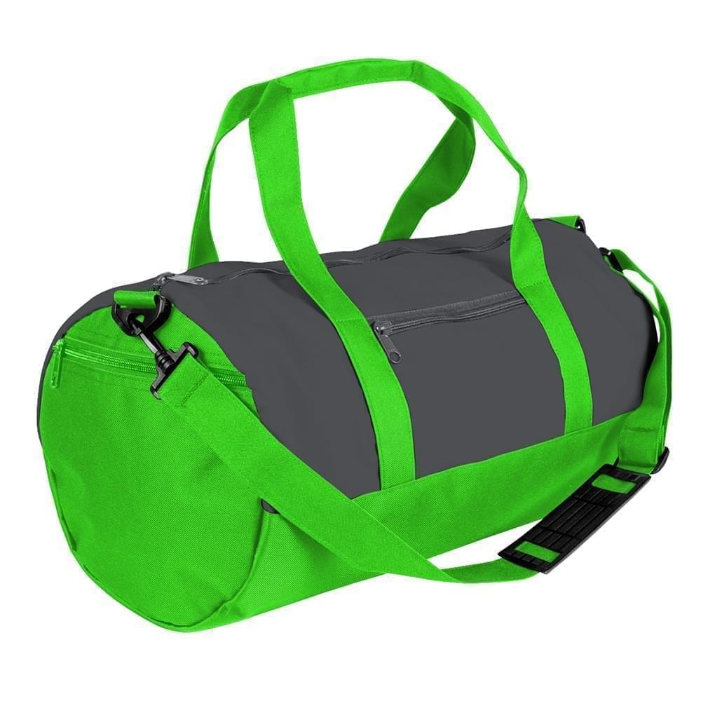 USA Made Nylon Poly Athletic Barrel Bags, Graphite-Lime, PMLXZ2AARY