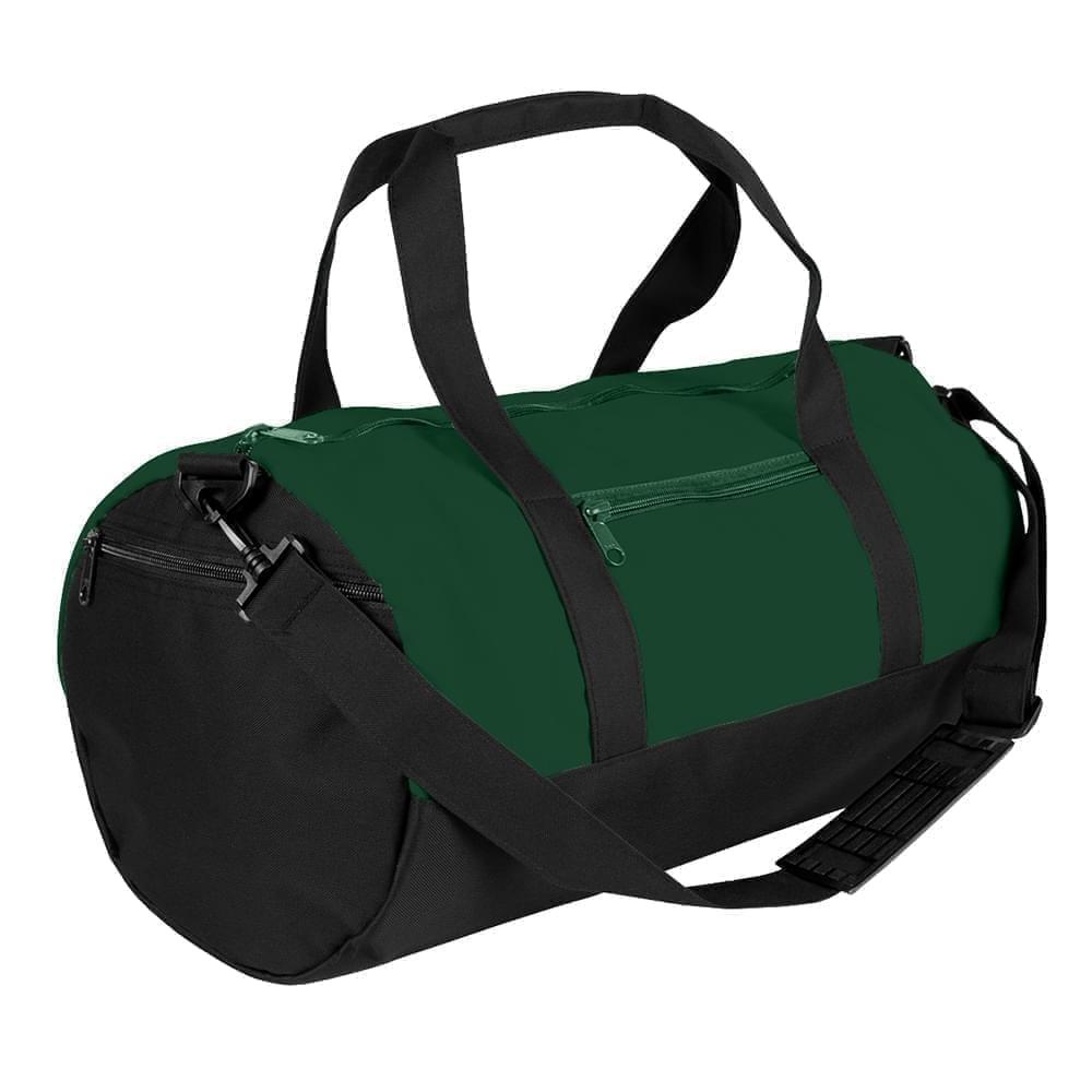 USA Made Nylon Poly Athletic Barrel Bags, Hunter Green-Black, PMLXZ2AASC