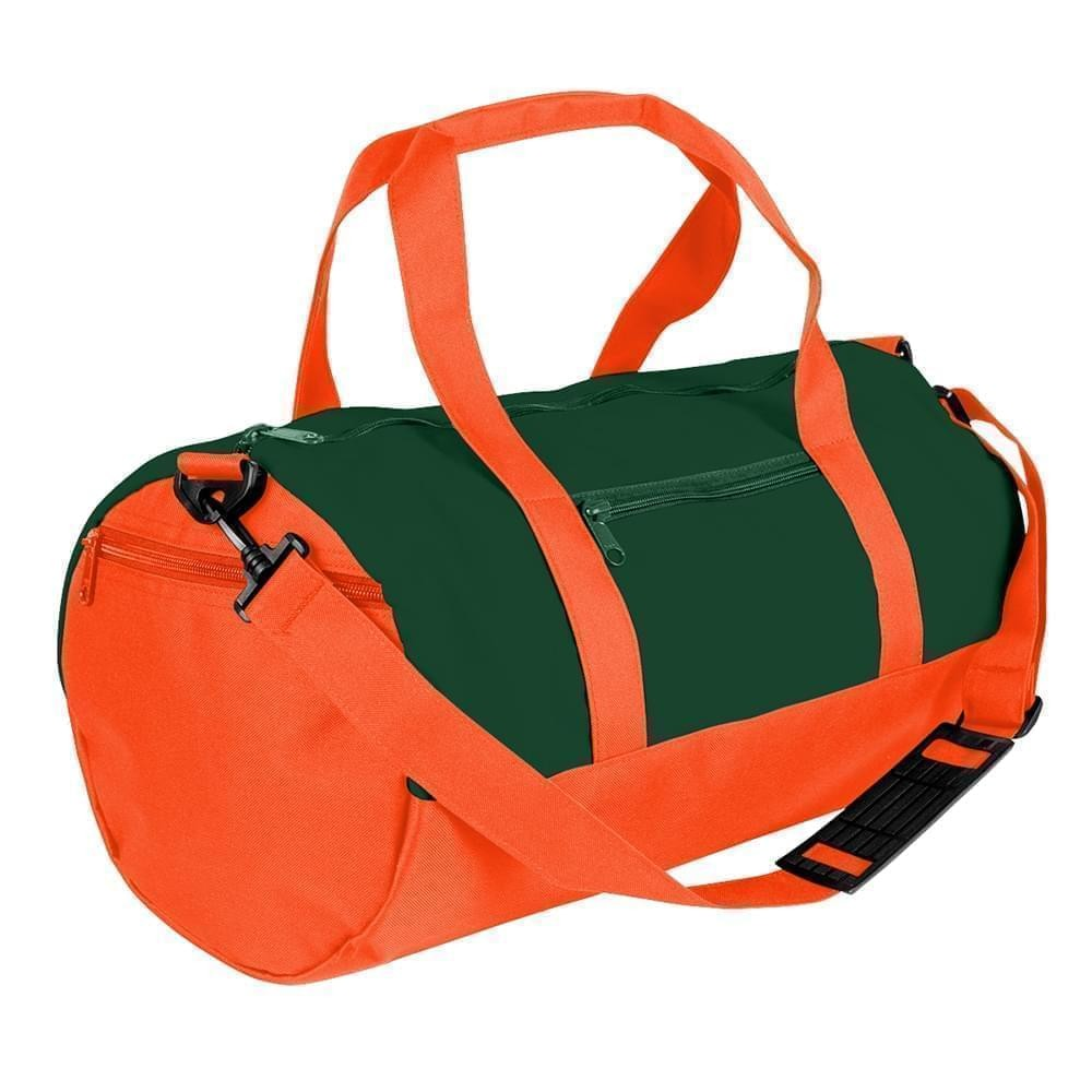 USA Made Nylon Poly Athletic Barrel Bags, Hunter Green-Orange, PMLXZ2AASJ