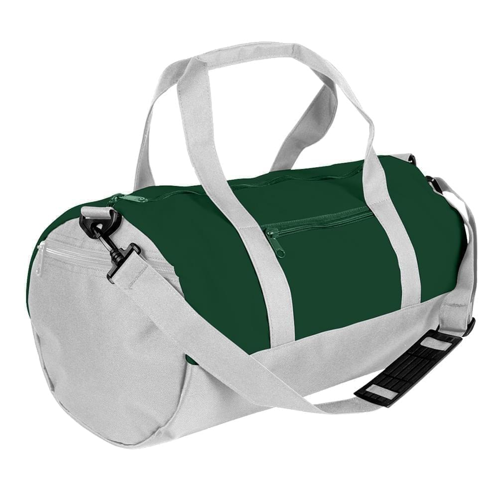 USA Made Nylon Poly Athletic Barrel Bags, Hunter Green-White, PMLXZ2AASP
