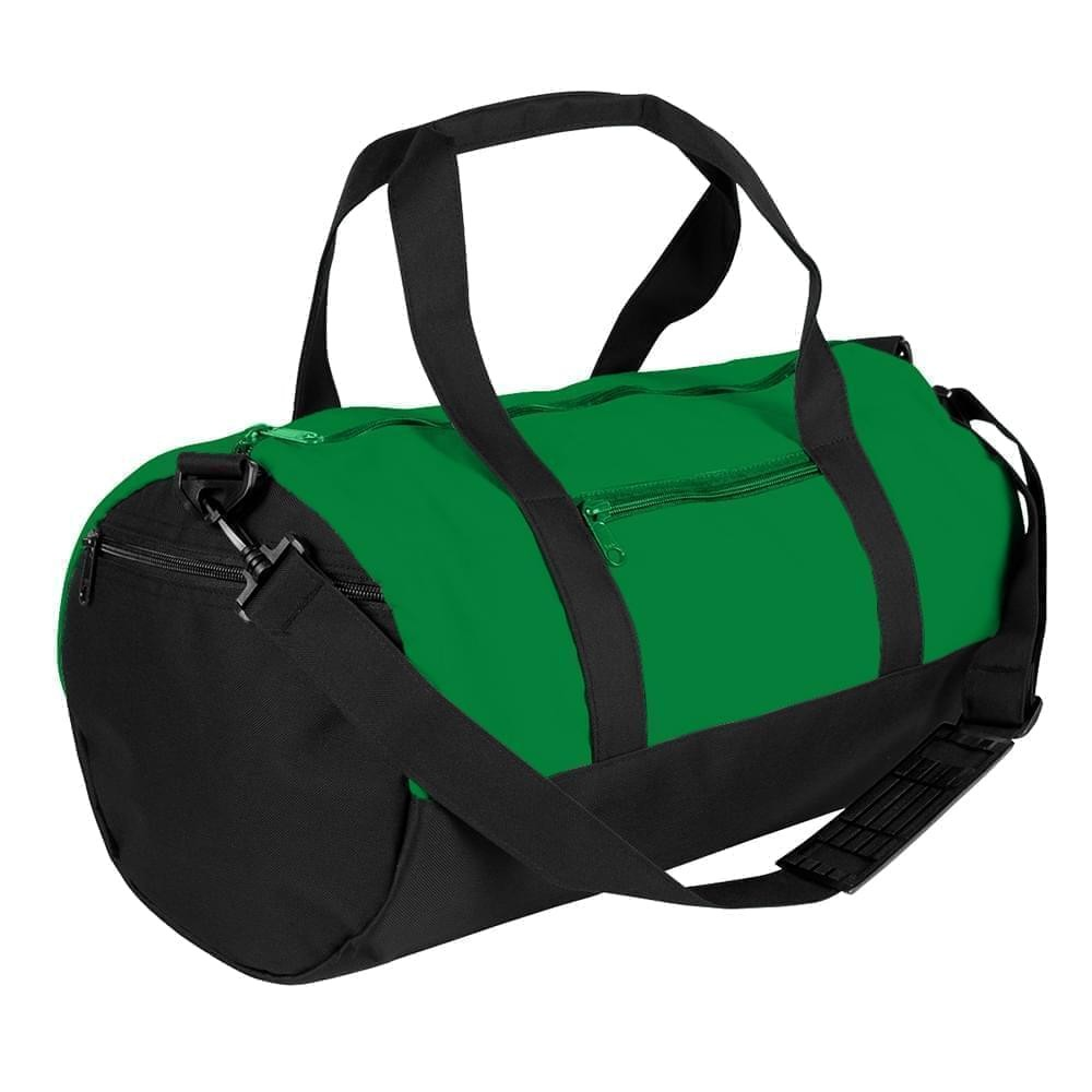 USA Made Nylon Poly Athletic Barrel Bags, Kelly Green-Black, PMLXZ2AATC