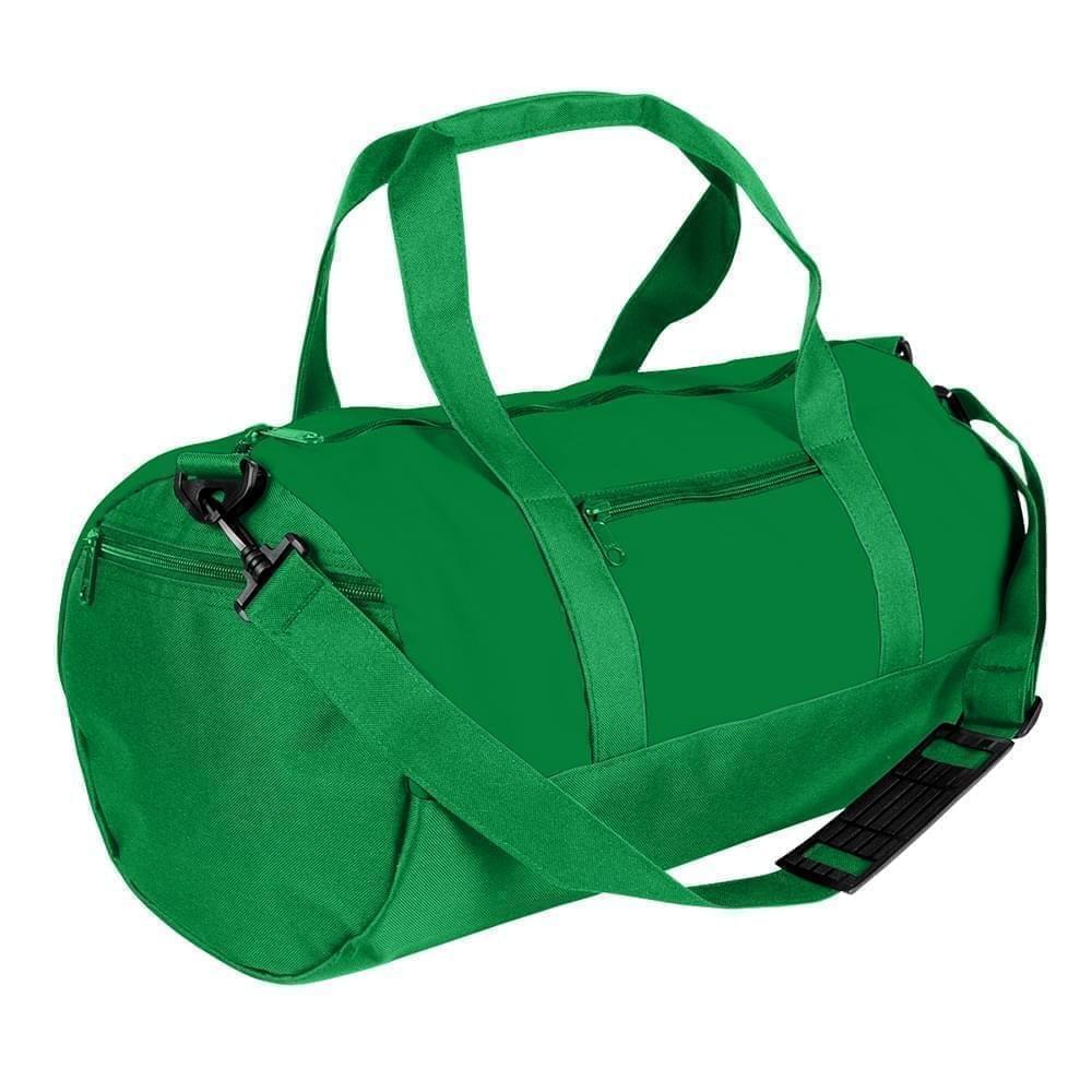USA Made Nylon Poly Athletic Barrel Bags, Kelly Green-Kelly Green, PMLXZ2AATH