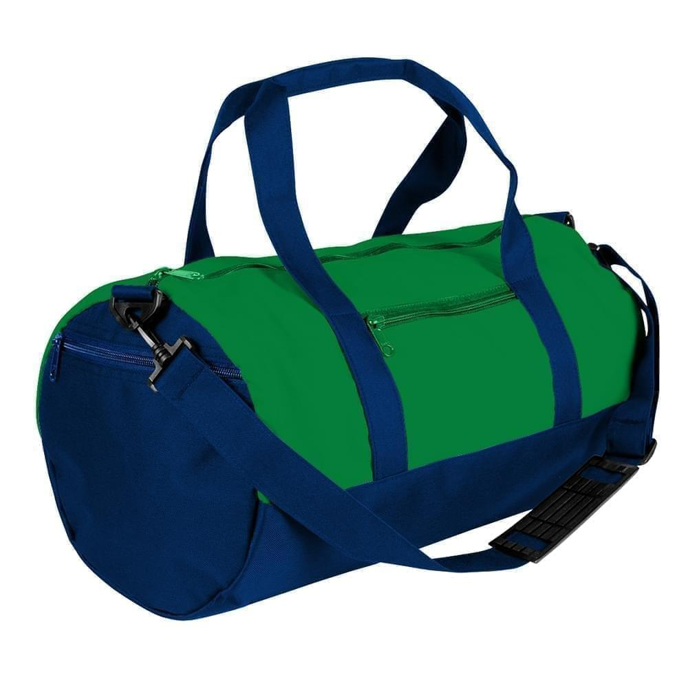 USA Made Nylon Poly Athletic Barrel Bags, Kelly Green-Navy, PMLXZ2AATI
