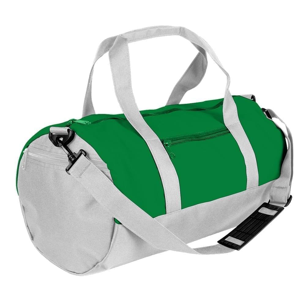 USA Made Nylon Poly Athletic Barrel Bags, Kelly Green-White, PMLXZ2AATP