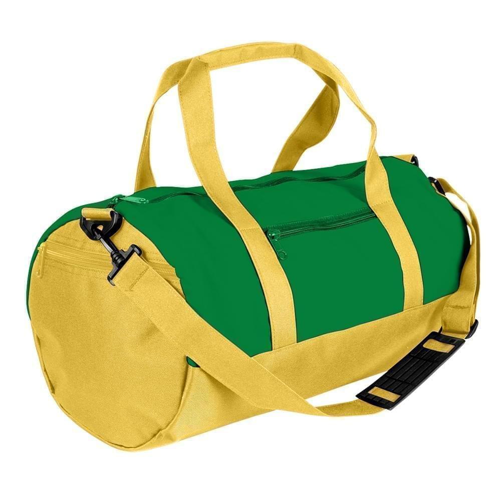 USA Made Nylon Poly Athletic Barrel Bags, Kelly Green-Gold, PMLXZ2AATQ