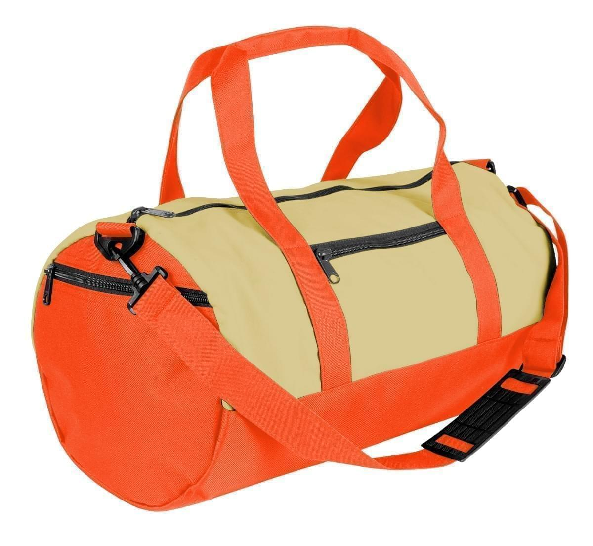 USA Made Heavy Canvas Athletic Barrel Bags, Natural-Orange, PMLXZ2AAV0
