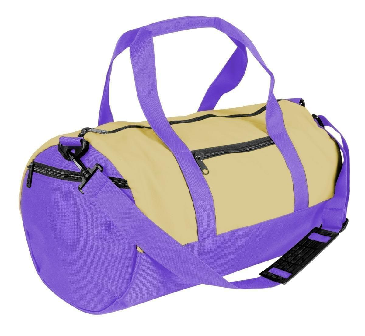 USA Made Heavy Canvas Athletic Barrel Bags, Natural-Purple, PMLXZ2AAV1