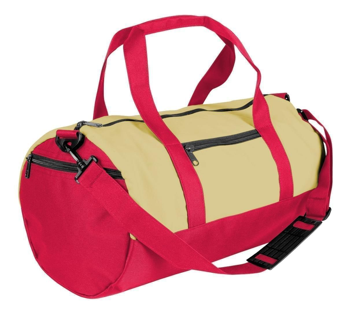 USA Made Heavy Canvas Athletic Barrel Bags, Natural-Red, PMLXZ2AAV2
