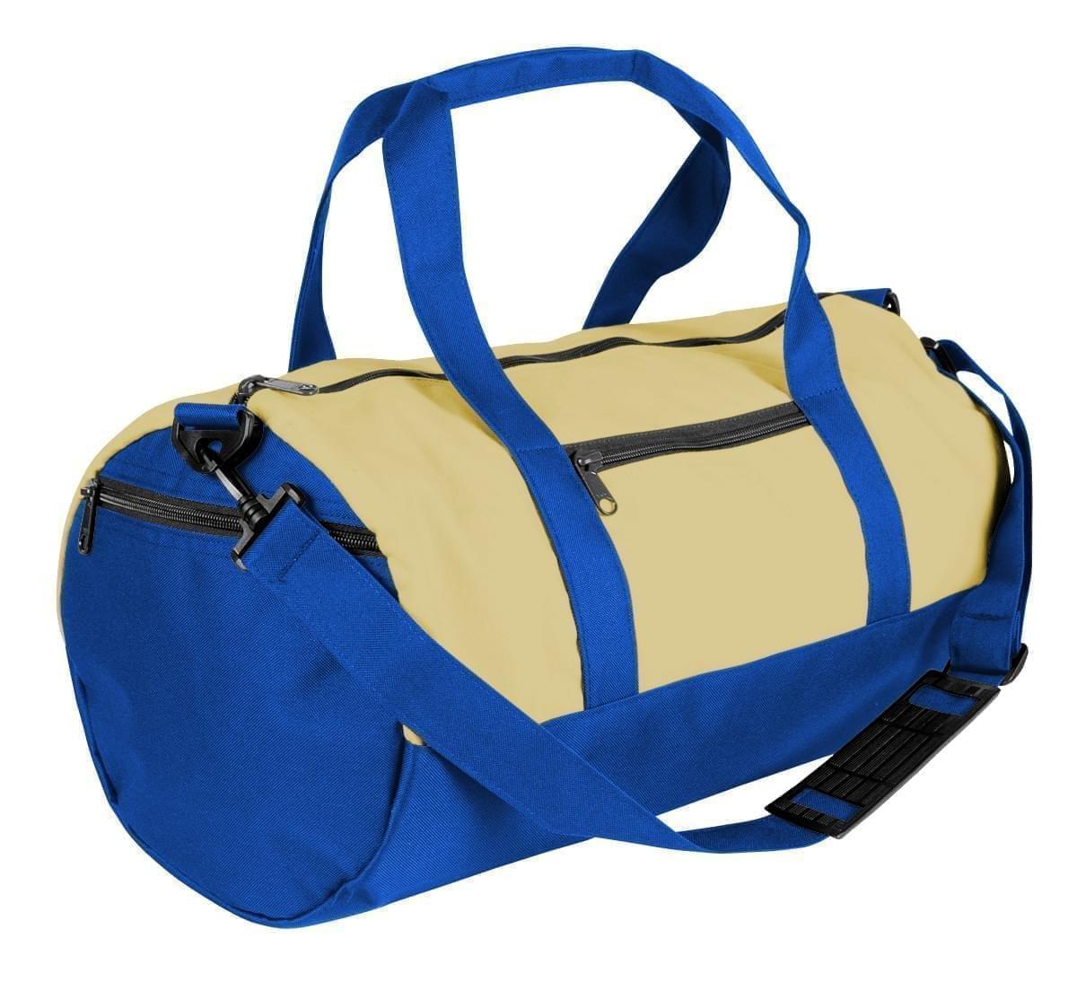 USA Made Heavy Canvas Athletic Barrel Bags, Natural-Royal Blue, PMLXZ2AAV3