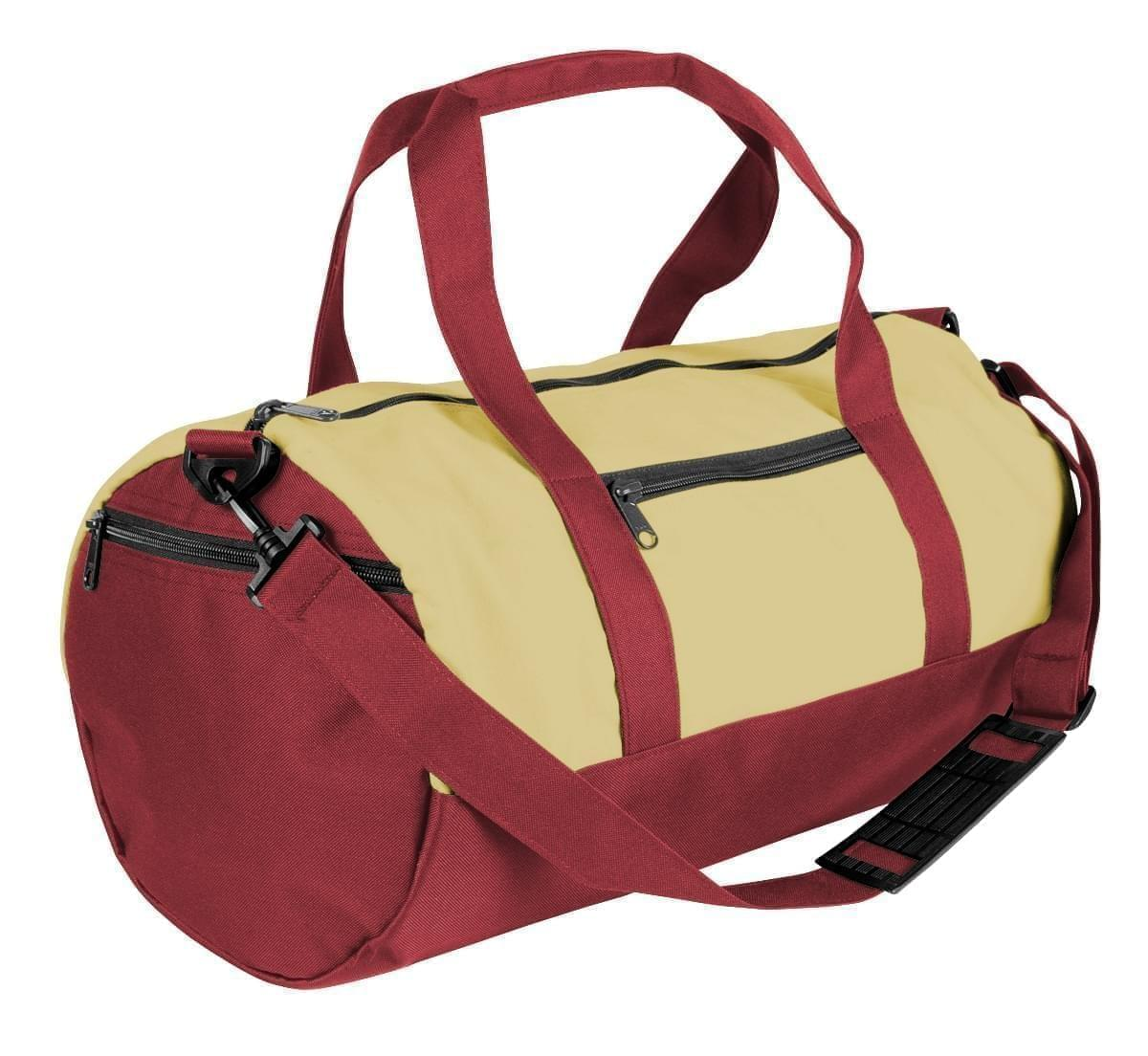 USA Made Heavy Canvas Athletic Barrel Bags, Natural-Burgundy, PMLXZ2AAVE