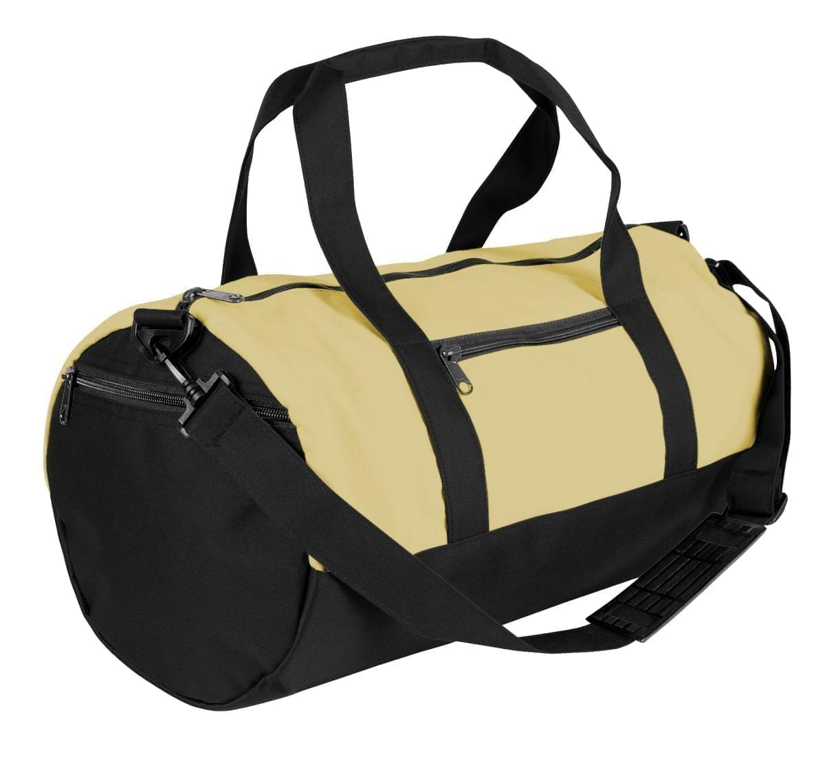 USA Made Heavy Canvas Athletic Barrel Bags, Natural-Black, PMLXZ2AAVR
