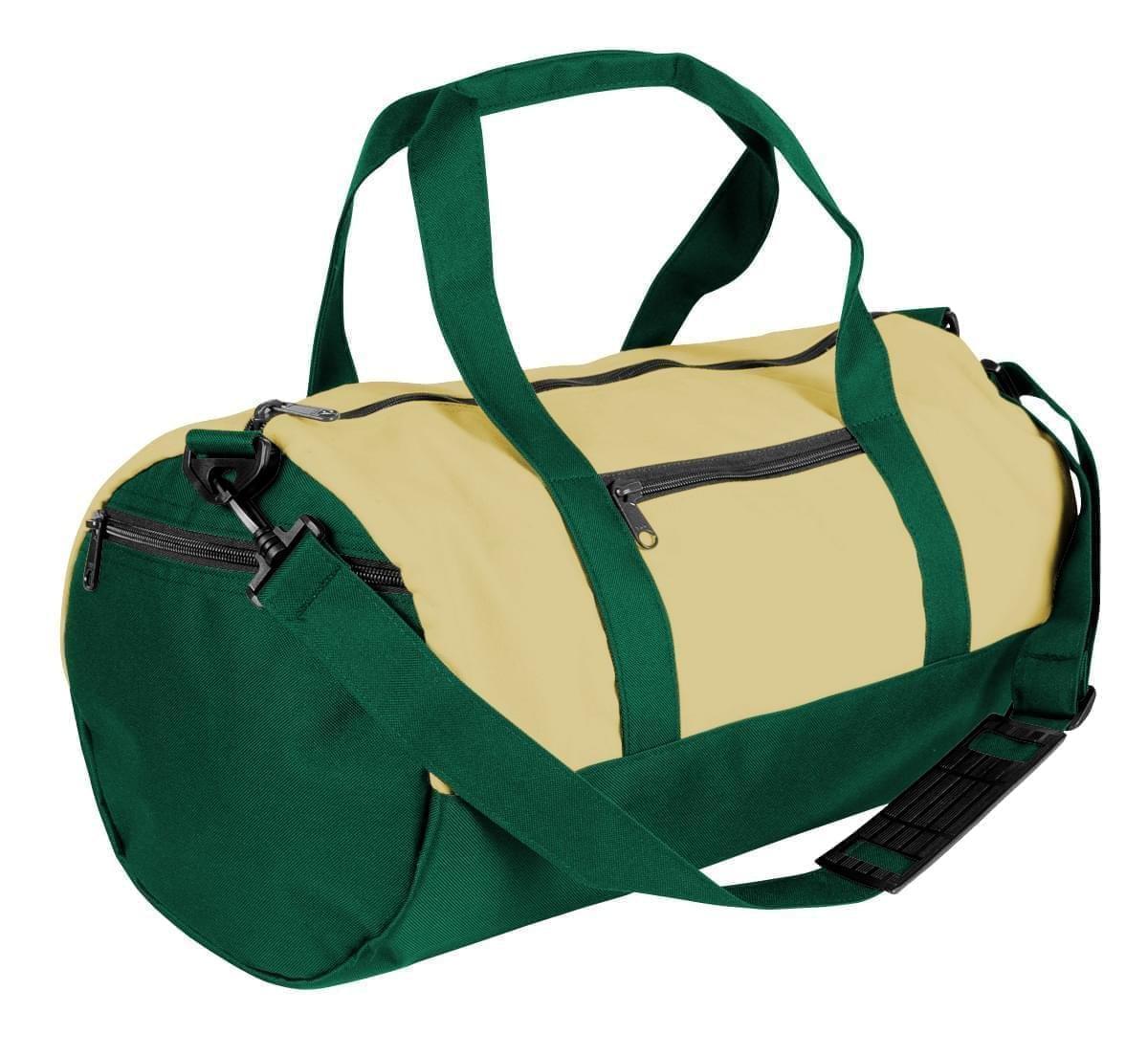 USA Made Heavy Canvas Athletic Barrel Bags, Natural-Hunter Green, PMLXZ2AAVV