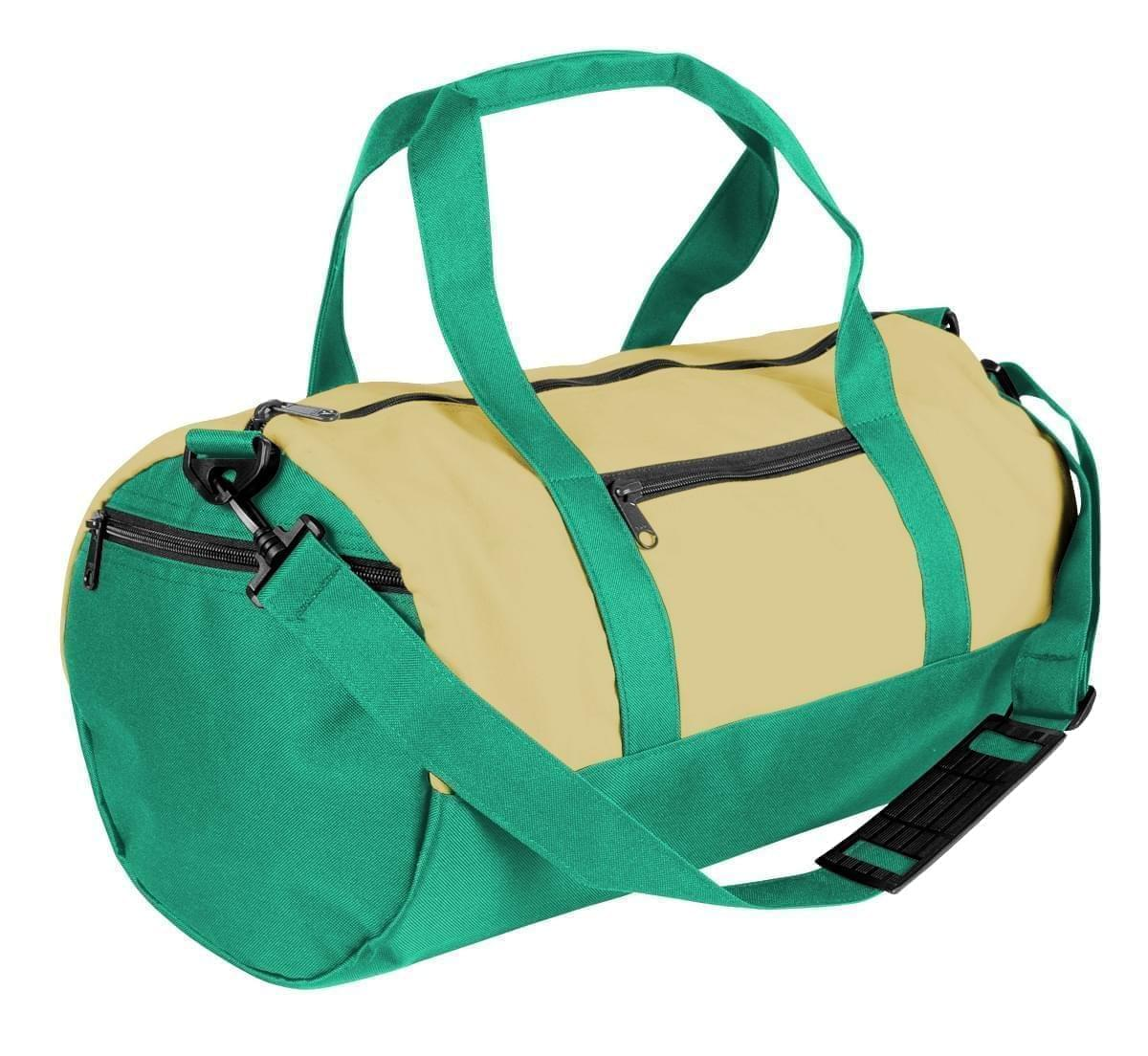 USA Made Heavy Canvas Athletic Barrel Bags, Natural-Kelly Green, PMLXZ2AAVW