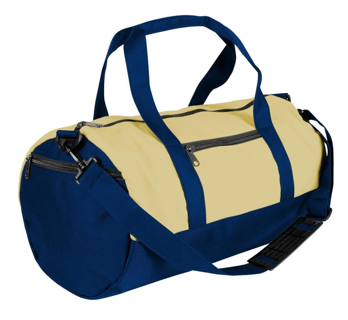 USA Made Heavy Canvas Athletic Barrel Bags, Natural-Navy, PMLXZ2AAVZ