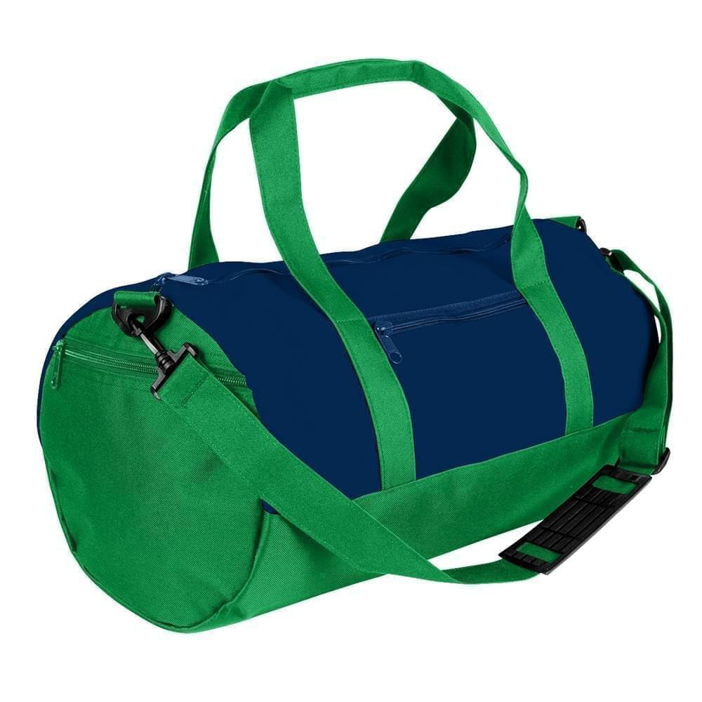 USA Made Nylon Poly Athletic Barrel Bags, Navy-Kelly Green, PMLXZ2AAWH