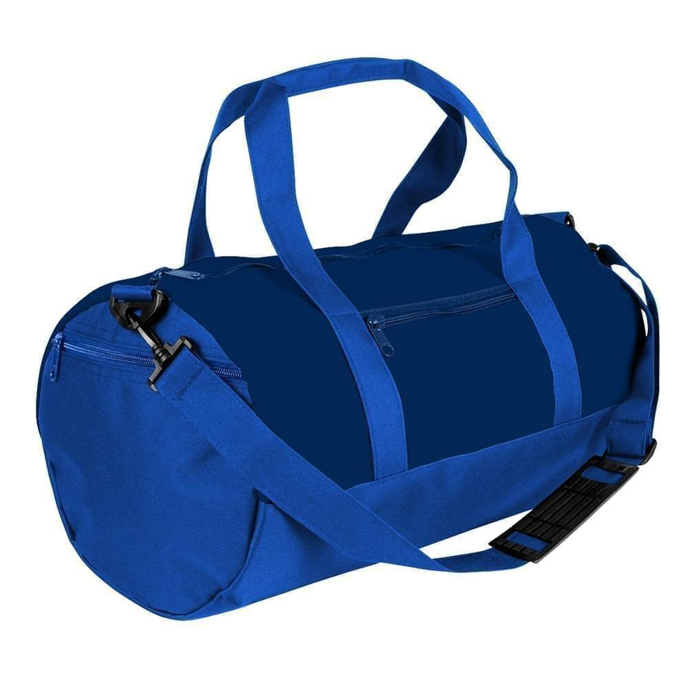 USA Made Nylon Poly Athletic Barrel Bags, Navy-Royal Blue, PMLXZ2AAWM