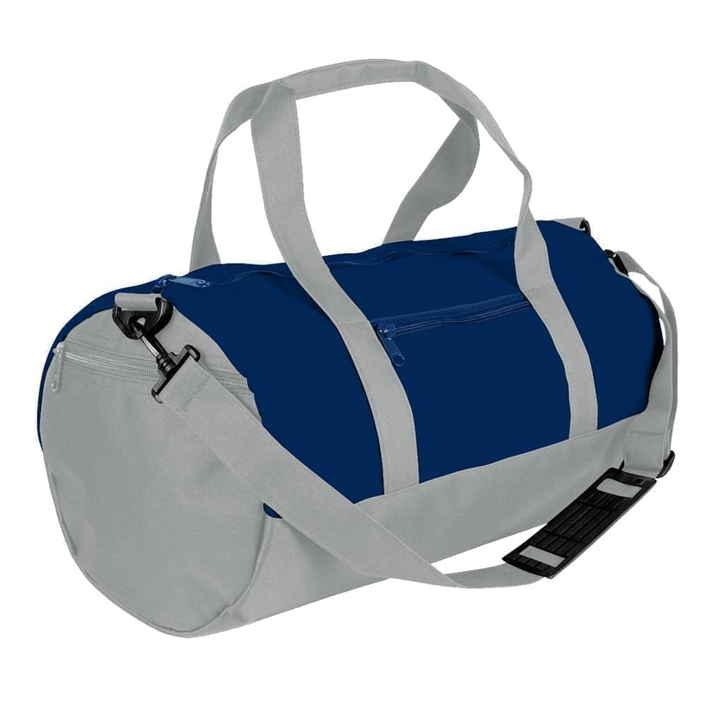 USA Made Nylon Poly Athletic Barrel Bags, Navy-Grey, PMLXZ2AAWN