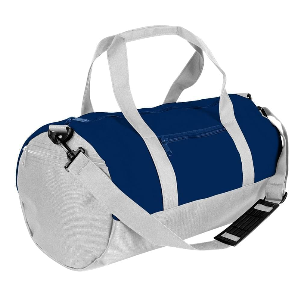 USA Made Nylon Poly Athletic Barrel Bags, Navy-White, PMLXZ2AAWP