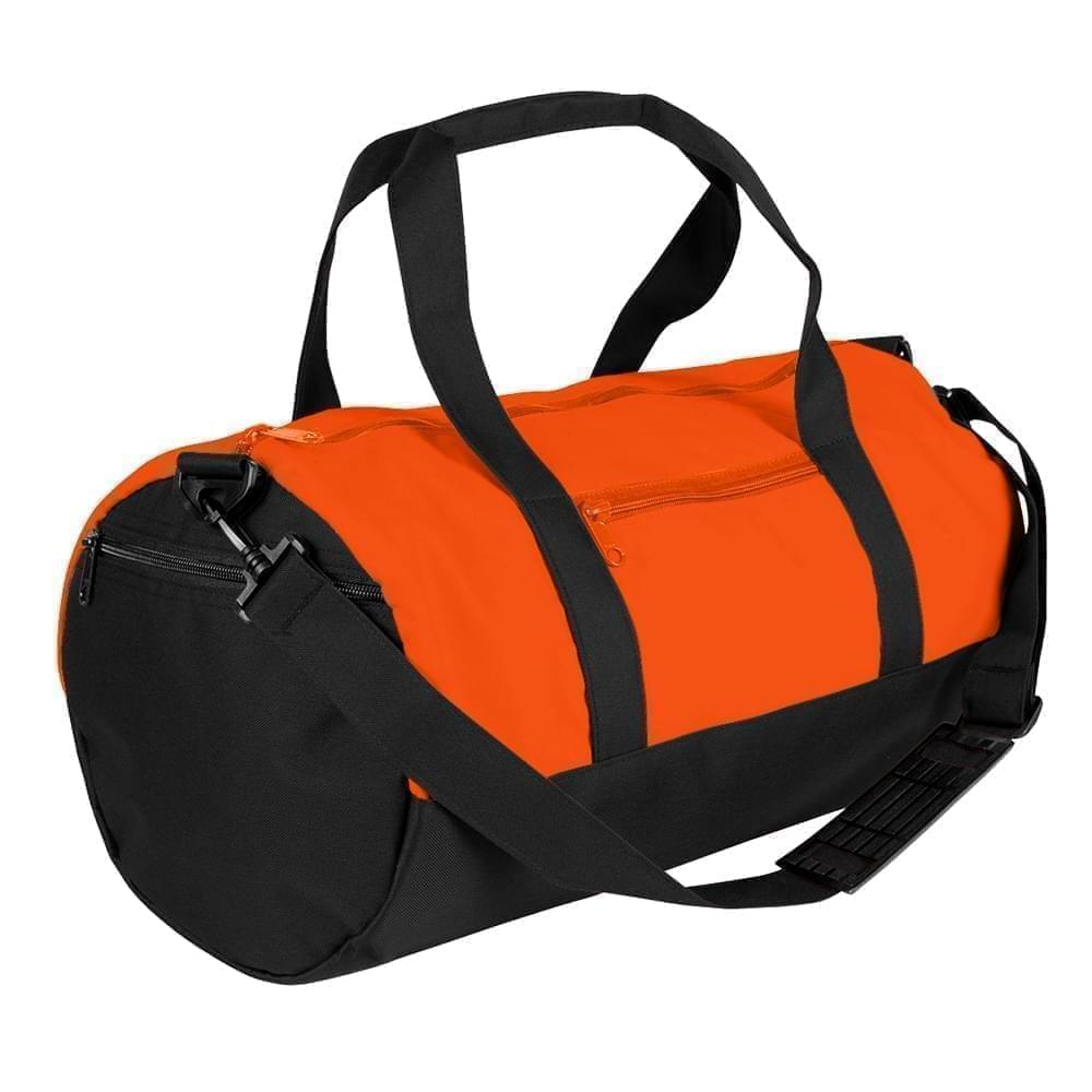 USA Made Nylon Poly Athletic Barrel Bags, Orange-Black, PMLXZ2AAXC