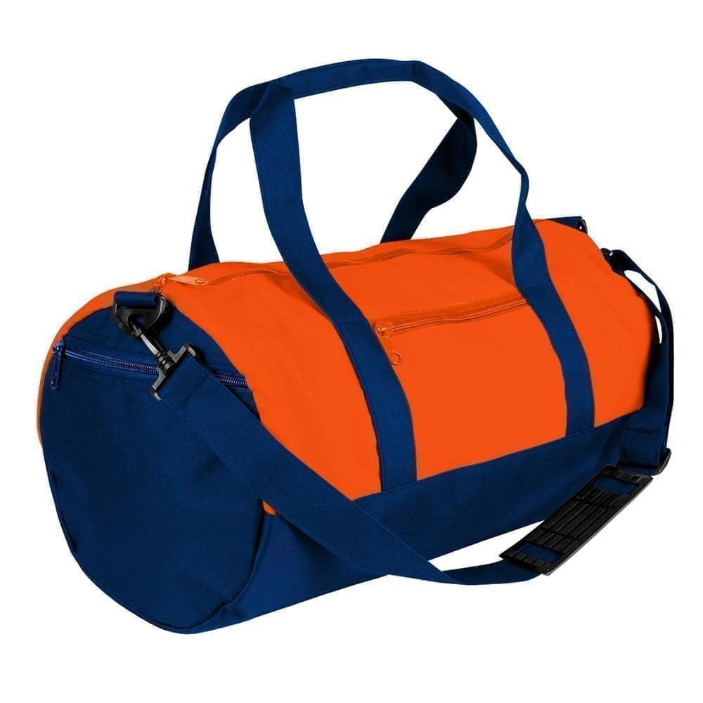USA Made Nylon Poly Athletic Barrel Bags, Orange-Navy, PMLXZ2AAXI