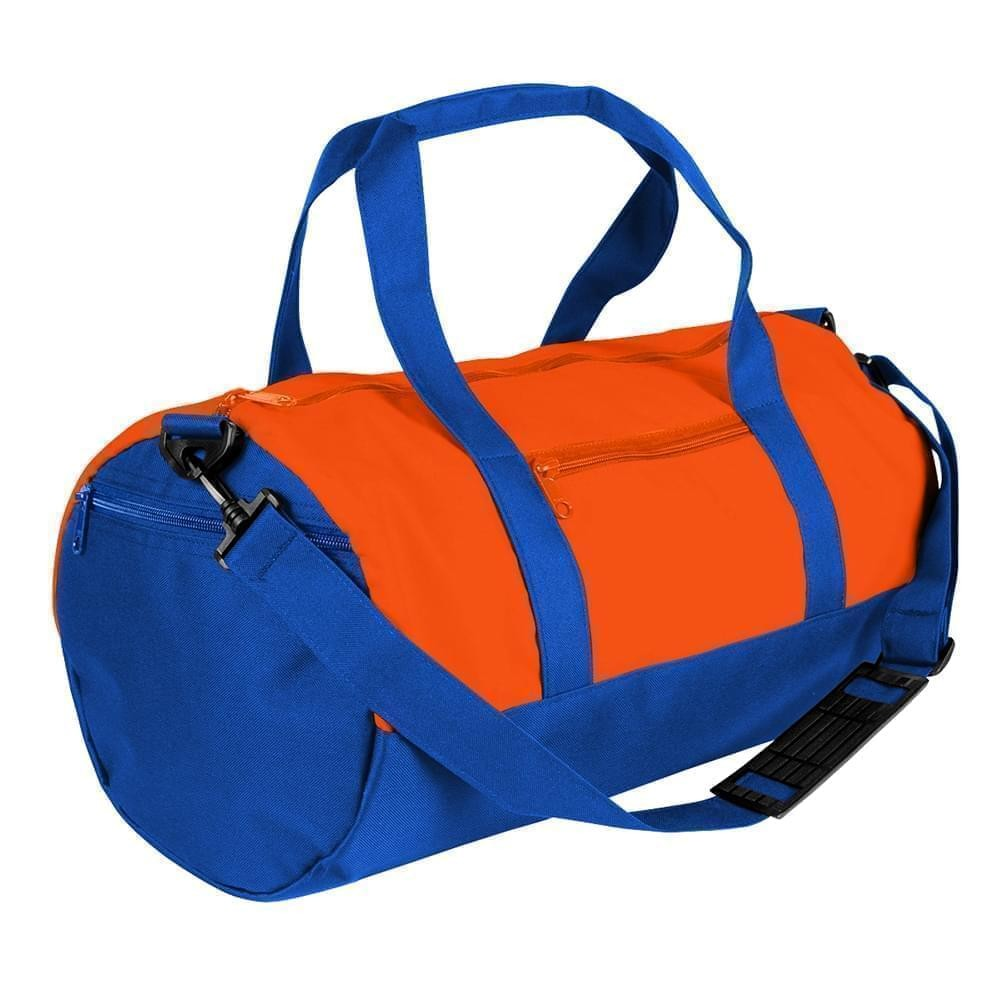 USA Made Nylon Poly Athletic Barrel Bags, Orange-Royal Blue, PMLXZ2AAXM
