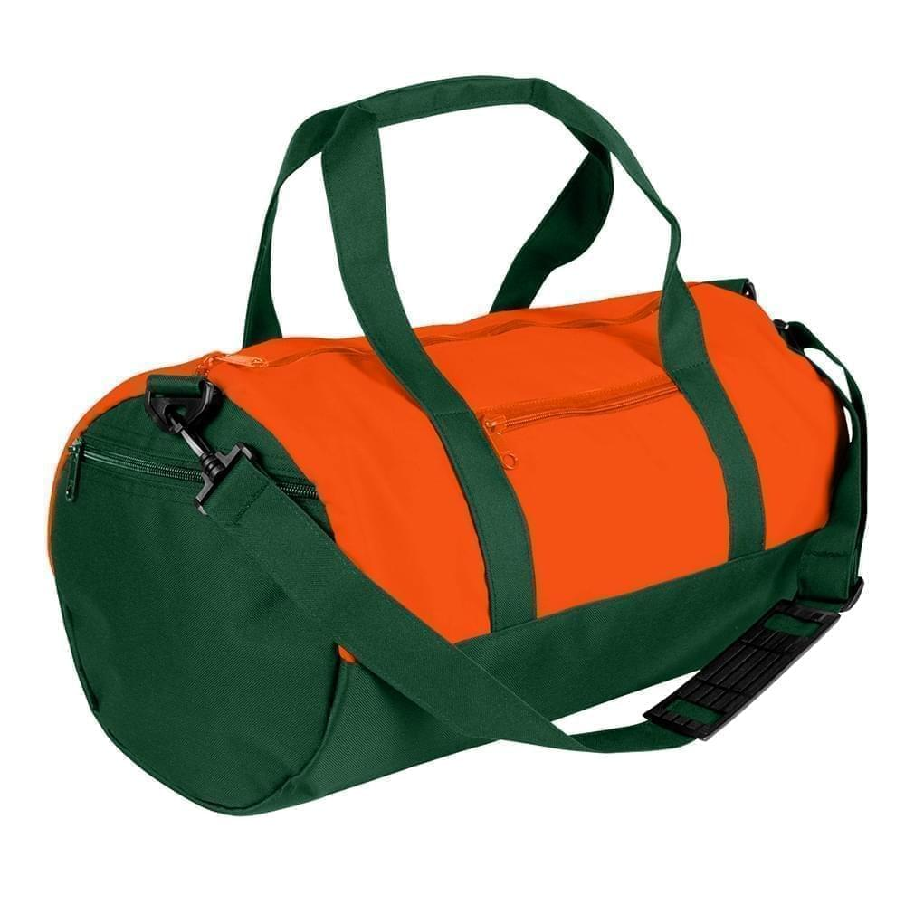 USA Made Nylon Poly Athletic Barrel Bags, Orange-Hunter Green, PMLXZ2AAXV