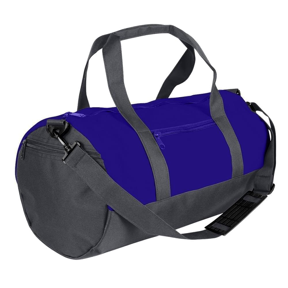 USA Made Nylon Poly Athletic Barrel Bags, Purple-Graphite, PMLXZ2AAYF