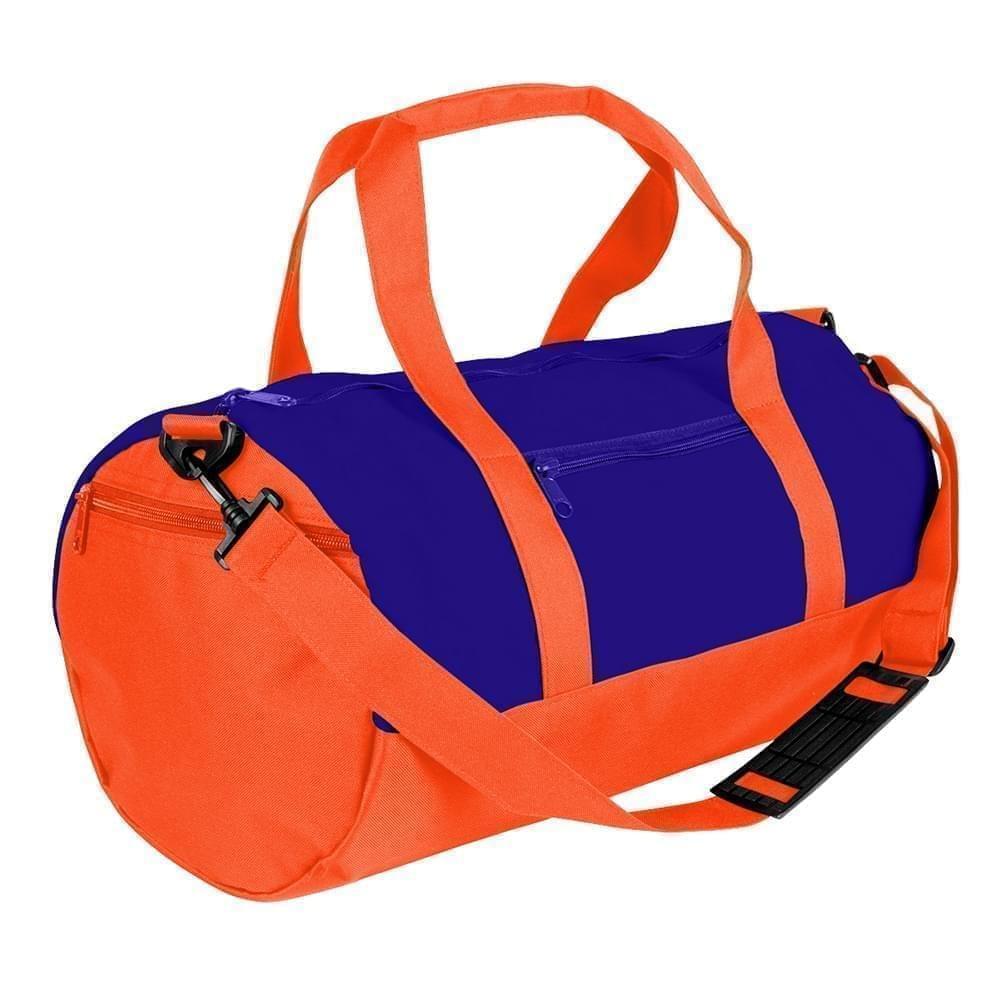 USA Made Nylon Poly Athletic Barrel Bags, Purple-Orange, PMLXZ2AAYJ