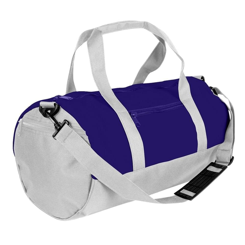 USA Made Nylon Poly Athletic Barrel Bags, Purple-White, PMLXZ2AAYP